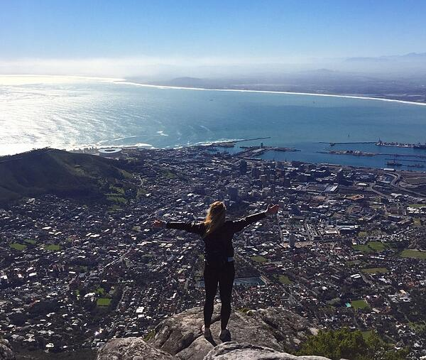 On top of Table Mountain taking in the beautiful city.